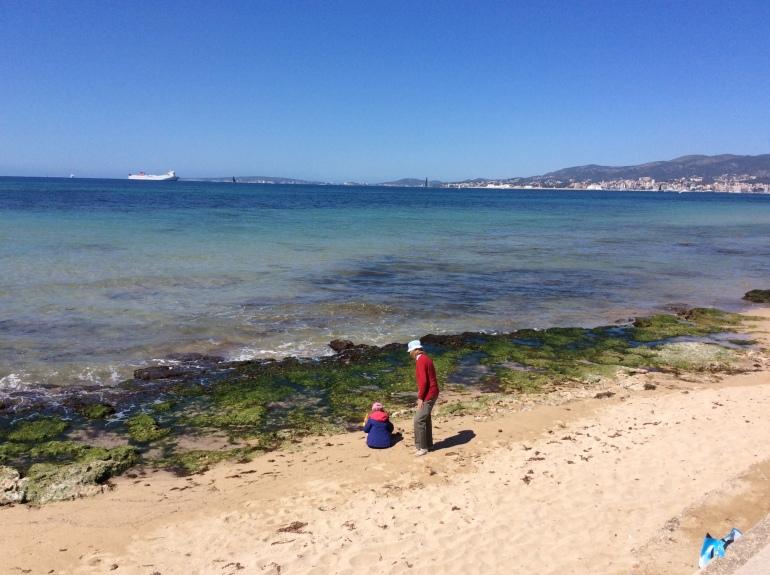 Jugando con el nieto en la playa