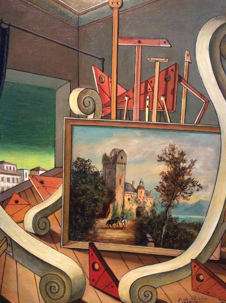Giorgio De Chirico-Interior Metafísico con Paisaje Romántico